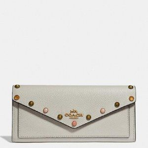 $149 *NEW* COACH Soft Wallet With Rivets Chalk/Gld